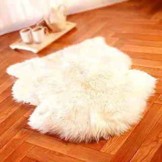 HUGE GENUINE SINGLE SHEEPSKIN RUG sheep skin Fur Pelt   WHITE COLOR