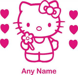 HELLO KITTY 6 HEARTS Girls Bedroom Door or Wall Sticker (Personalised)