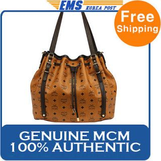 NEW GENUINE MCM PUNTO VISETOS LEATHER SHOULDER BAG BROWN FOR WOMEN
