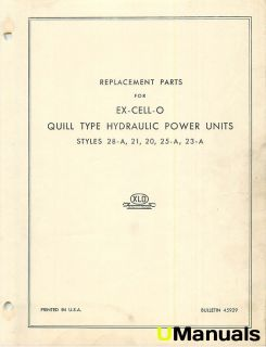 Ex Cell O Hydraulic Power Units 28 A 21 20 25 A 23 A Parts Manual