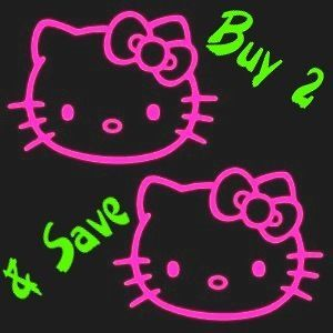 hello kitty hot pink 3 window sticker decals set of