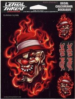 HOT FLAMING EVIL CLOWN HOTROD Kulture 3 STICKER/DECAL SET Art by