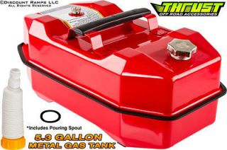 RED 5.3 GALLON STEEL GAS STORAGE TANK METAL OUTBOARD BOAT JERRY FUEL