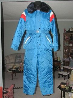 VINTAGE SNO JET BLUE BIBS & PANTS SNOWMOBILE SUIT PRISTINE!