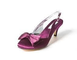 Aubergine/Purple Satin Low Heel Wedding/Prom Shoes   Heavenly SIZE uk6