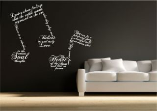 Music Note Symbols Wall Sticker Quote Decal Transfer Mural Stencil Art