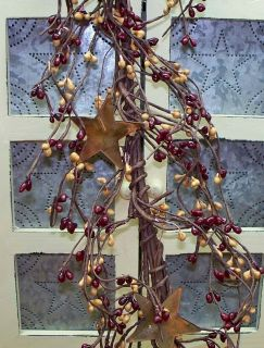 Pip Berry Garlands with Stars 4 to 4 5 ft Long Assorted Colors