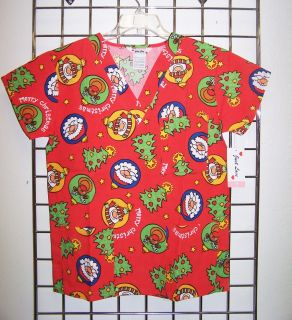 Christmas Santa Clause Red Print Nurses Uniform Scrub Top V Neck XS