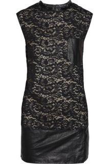 Phillip Lim Leather Lace Sleeveless Mini Dress 8 US