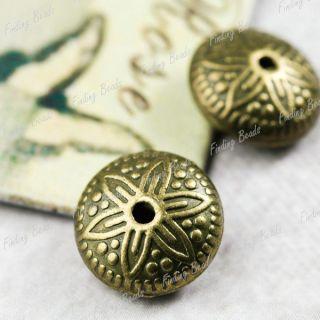 30 Vintage Antique Bronze Flower Charm Pendant TS10268 4