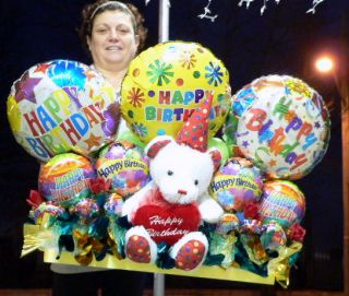 Giant Birthday Balloon Bouquet w Teddy Bear 3 Feet Long