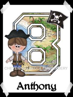 Pirate Boy or Girl Personalized Printed Birthday Shirt