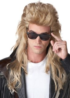 80s Rock Mullet Redneck Long Blonde Men Costume Wig