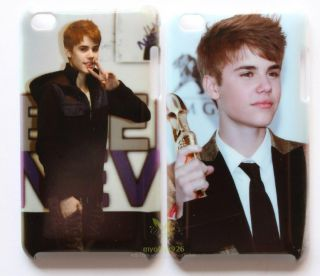 New 2pcs Justin Bieber Hard Back Cover Case for iPod Touch 4th 4G 4