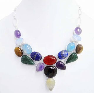 Multi Stone Necklace .925 Silver Plated Over Solid Copper Women India