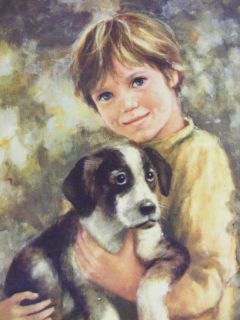 Classic Boy with His Puppy Dog vintage framed art by C. Mitchell