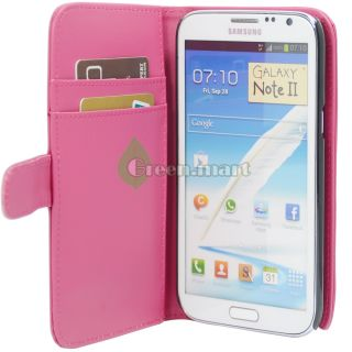 Pink Wallet Pouch Leather Case Cover For. Samsung Galaxy Note 2 II