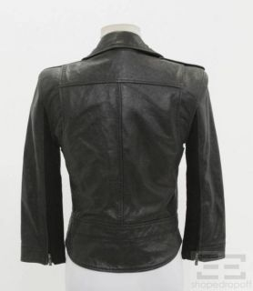 BCBG Max Azria Black Leather Motorcycle Jacket Size S