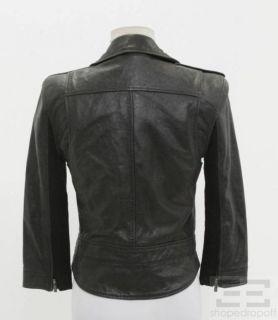 BCBG Max Azria Black Leather Motorcycle Jacket Size S
