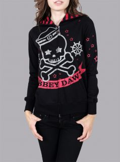 ABBEY DAWN AVRIL LAVIGNE Black Seas Skull Zip Hoodie NWT M+FREE GIFTS