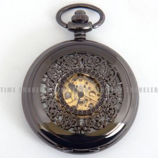 Black Mechanical Skeleton Mens Pocket Watch Chain Skull