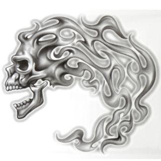 OG Abel Realistic Temporary Tattoo Flame Skull Big Tattoos