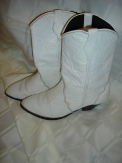 Abilene WHITE Ladies Western Leather Cowboy Cowgirl BOOTS fashion heel