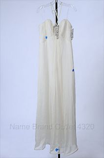 ABS ALLEN SCHWARTZ 10 IVORY CHIFFON BRIDAL WEDDING EMPIRE Gown DRESS