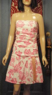 ABS Allen Schwartz Strapless Dress PINK & PEACH Floral Ruched Cocktail