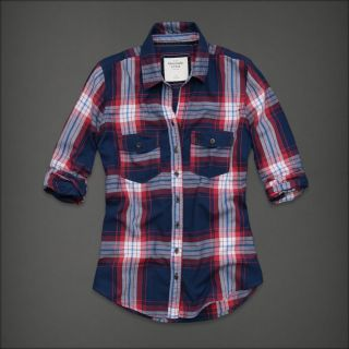 Abercrombie & Fitch Women Navy Blue Plaid Button Down Shirt Top Small