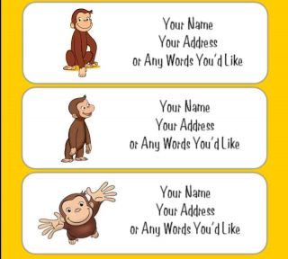 Curious George Monkey Personalize Return Address Labels