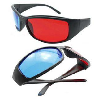 Red Blue Plastic Framed Cyan Anaglyph Glasses Glass for 3D Film