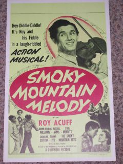 Roy Acuff Smoky Mountain Melody RARE Grand Ole Opry Movie Poster 1948