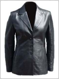 Made Women Black Real Leather Fashion Blazer Coat/Ladies Leather Coats