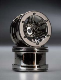 Axial 2.2 Rockster Beadlock Black Chrome Crawler Wheels   8095