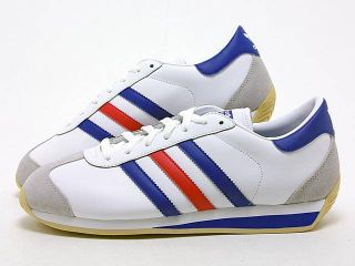 Scarpe Adidas Country II TG 41 1 3 A 46 Moda Uomo Vintage Bianco Nuovo
