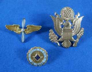 Vintage US Military Army Air Force Hat Pins 1 So Dakota Mason Pin