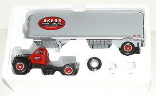 FIRST GEAR AKERS MOTOR LINES MACK TRUCKS B 61 TRACTOR TRAILER EARLY