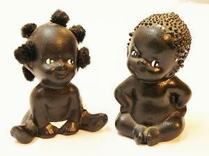 Adorable Vintage African American Bisque Baby Boy Girl Figurines