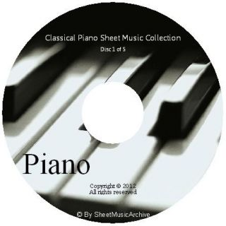 Huge Classical Piano Sheet Music Collection on 5 DVDs PDF Mozart Bach