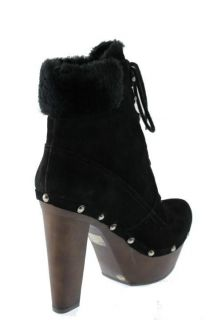 Jessica Simpson New Alfie Black Suede Heels Studded Platform Boots