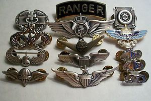 Military Insignia Ranger Pin Air Assault Airborne Rigger Combat Med