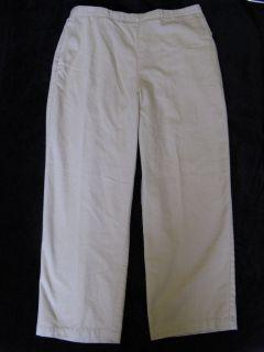 Alfred Dunner Womens 18 Petite Tan Pants Elastic Waist