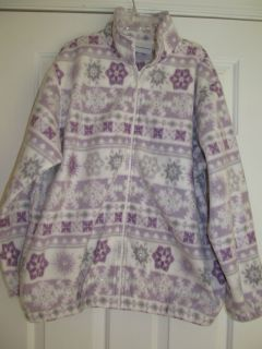 ALFRED DUNNER WOMENS PURPLE GRAY WHITE SNOWFLAKE FLEECE JACKET SIZE