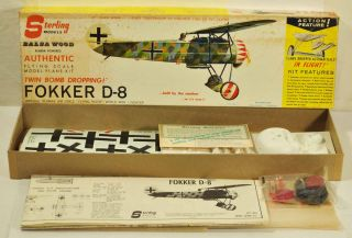 Balsa Wood Fokker D 8 Rubber Powered Flying Model Airplane Kit