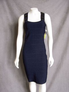Alice Olivia Navy Blue Bandage Dress with Decorated Straps Size M