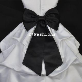 Black Tie Bow Sash 4 Pageant Wedding Flower Girl Dress Sz s M L 2 4 6
