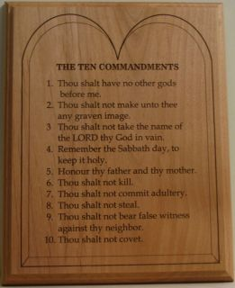 Laser Engraved 8x10 Alder Wood Plaque with The Ten Commandments in