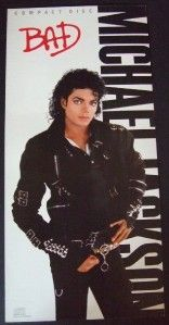 MICHAEL JACKSON KING OF POP BAD PROMO CD POSTER FLAT 1987 RARE