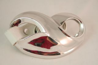 Authentic ALEXIS KIRK Huge Couture Silver Buckle w White Leather Cinch